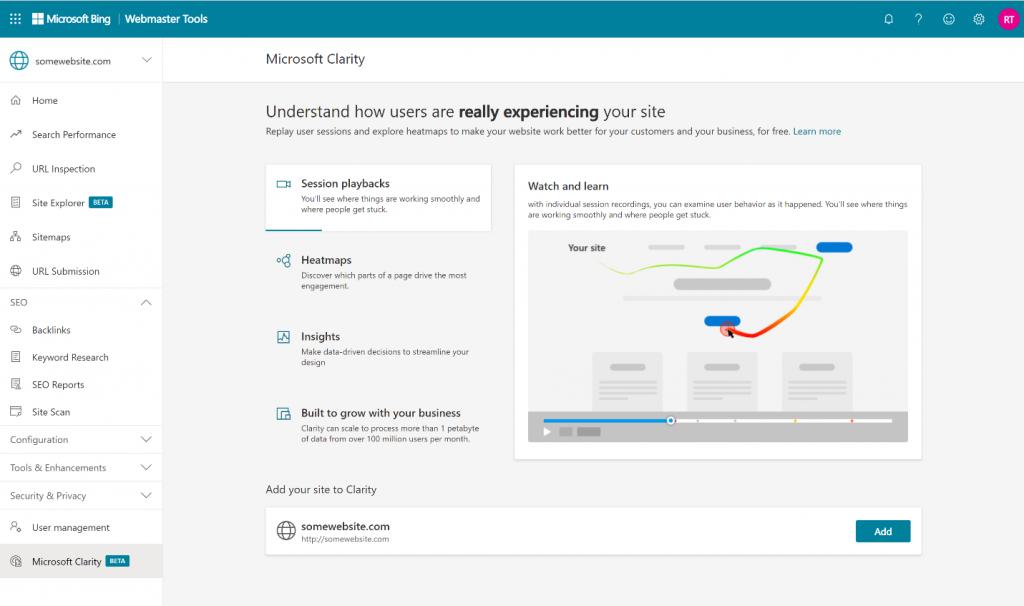 Bing Webmaster Tools có tính năng Microsoft Clarity